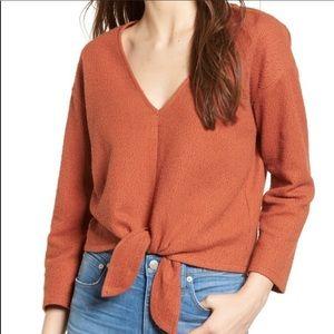 Madewell Burnt Orange Textured & Thread Crop Top
